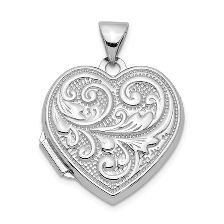 Mireval Sterling Silver Anti-Tarnish Treated Heart with Scrolls Locket (approximately 18 x 18 mm) (Heart Shaped Scroll Locket)