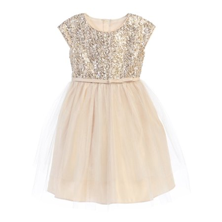 Sweet Kids Little Girls Champagne Sequin Top Overlaid Occasion Dress 2T-6](Sweet Dresses For Girls)