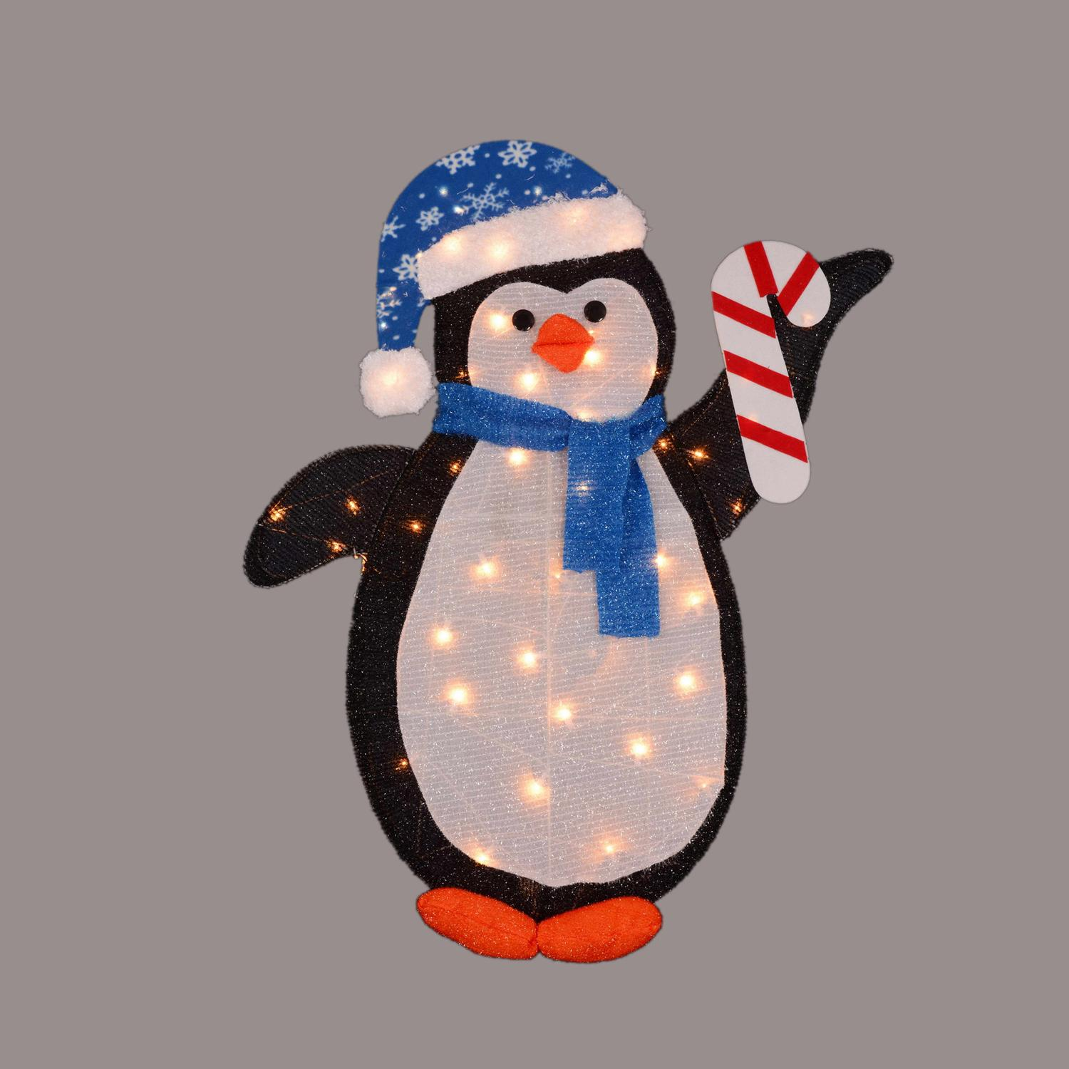 """42"""" Pre-Lit Penguin with Candy Cane Christmas Winter Outdoor Decoration"""