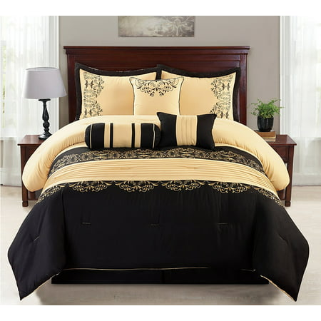7 Piece Gold Amp Black Cotton Touch Oversized Embroidered