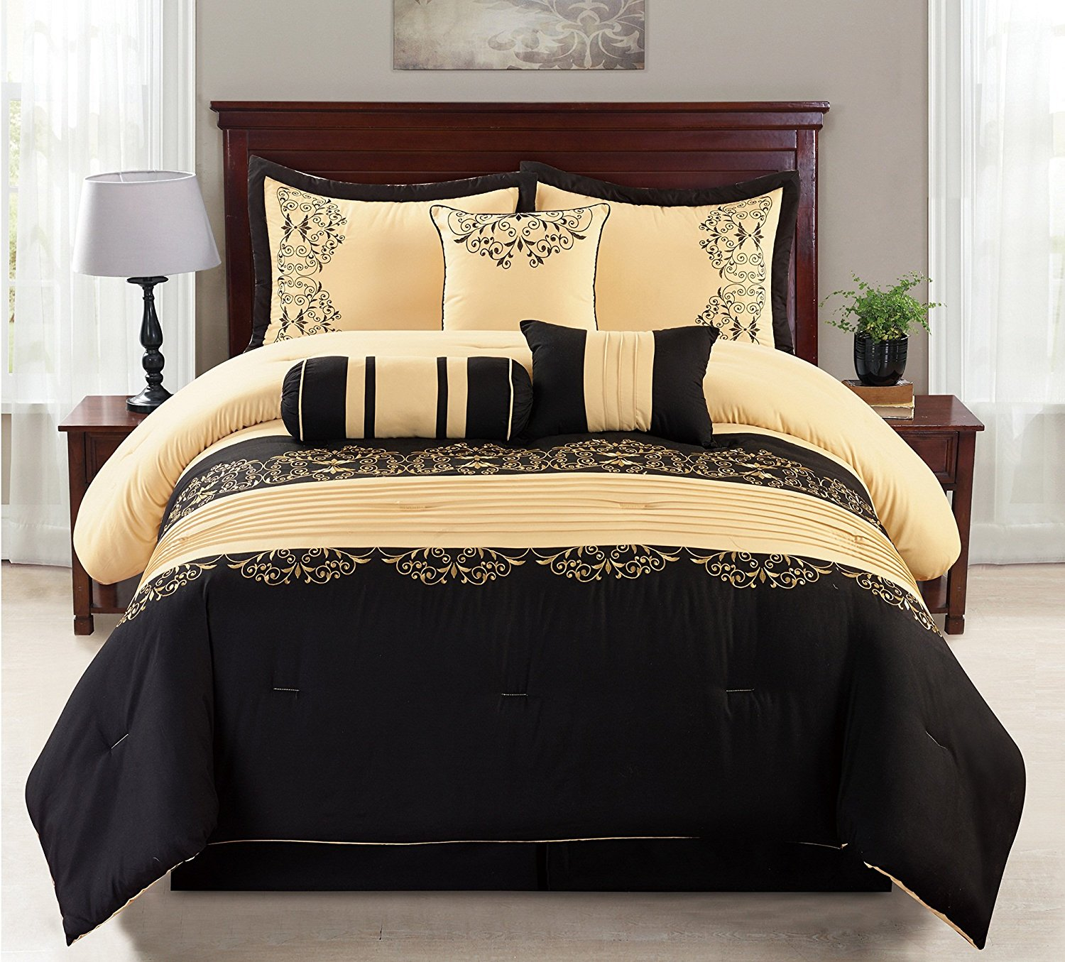 7 Piece Gold & Black Cotton Touch Oversized Embroidered Comforter Set - King Size