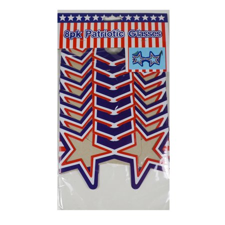 Fourth Of July Bbq (8 Patriotic USA Paper Glasses Star Shaped Sun Shades July 4th BBQ Party)