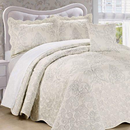 Lever Spread Set (Serenta Damask Embroidered 4 Piece Bed Spread)