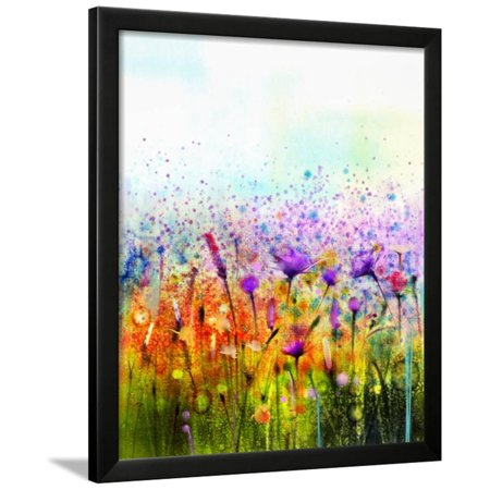 Abstract Watercolor Painting Purple Cosmos Flower Cornflower Violet Lavender White And Orange Wil Framed Print Wall Art By Pluie R