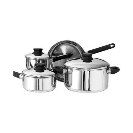 kinetic kitchen basics series stainless steel cookware set with lids 12000 7 piece - Kitchen Basics