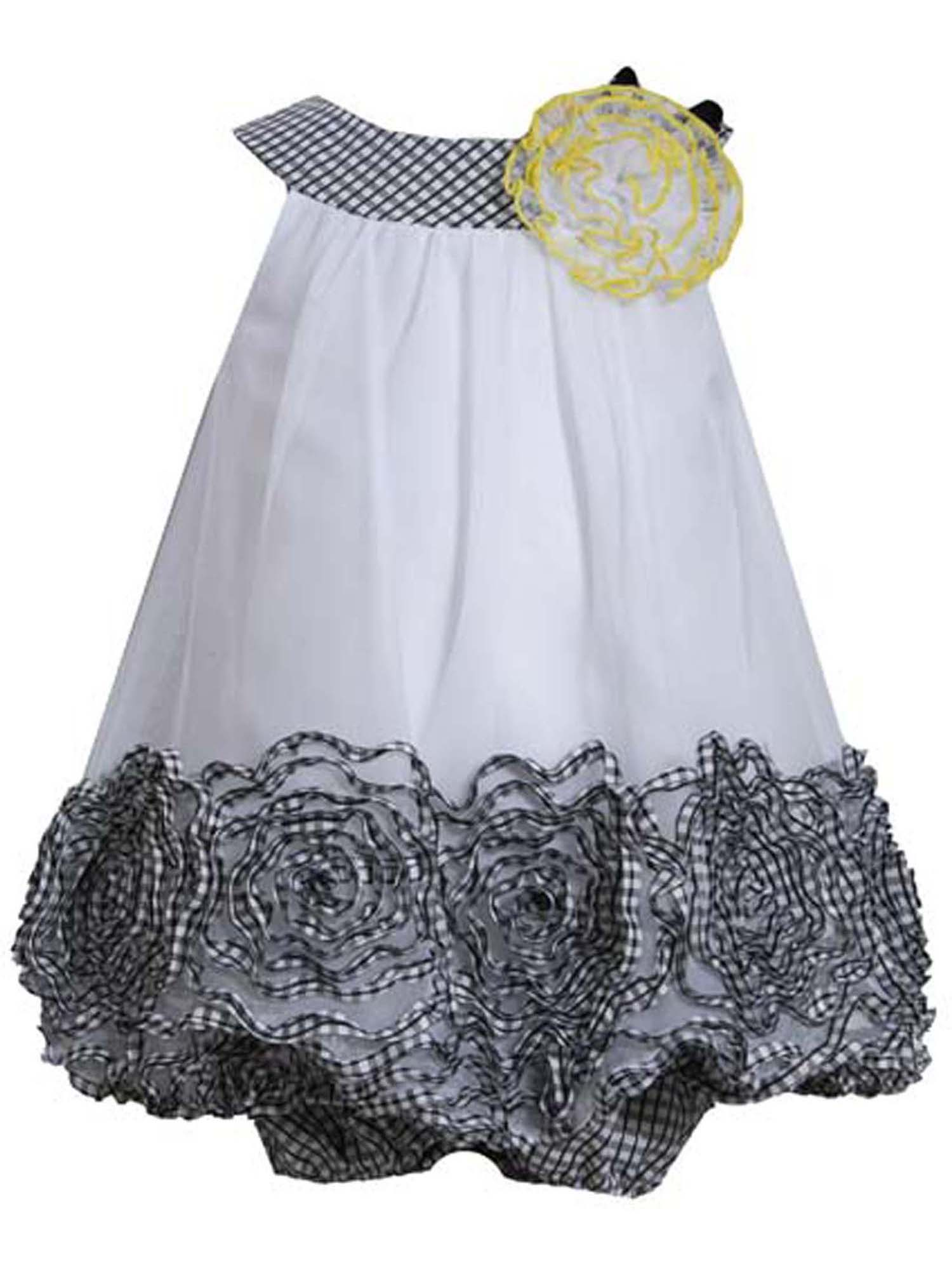 Baby Girl 3M-24M Black White Metallic Bonaz Border Bubble Hem Trapeze Dress [BNJ-04608], Black/White, 18M