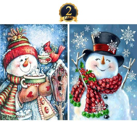 5D Diamond Painting Full Drill by Number Kits Christmas Decoration for Adults Kids, DIY Rhinestone Pasted Paint Set Arts Craft Xmas Snowman (12x16inch, 2 Pack)