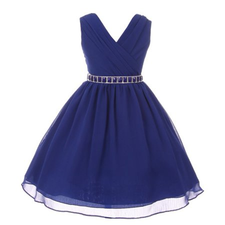 Girls Royal Blue Stone Belt Chiffon Yoru Junior Bridesmaid (Best Dress Websites For Juniors)