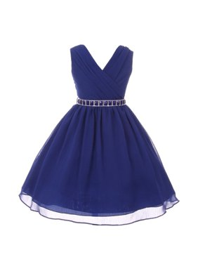 c8beb66c01 Product Image Girls Royal Blue Stone Belt Chiffon Yoru Junior Bridesmaid  Dress. My Best Kids