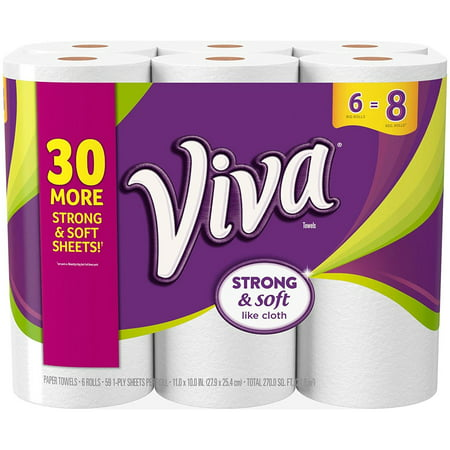 Big Roll Paper Towels  White  6 Rolls  Fiber Packed Sheets To Help You Clean Your Toughest Messes     By Viva Ship From Us