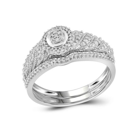 10kt White Gold Womens Round Diamond Cluster Bridal Wedding Engagement Ring Band Set 1/4 Cttw - image 3 of 3
