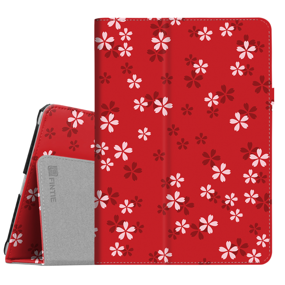 Fintie Vegan Leather Stand Case Cover for 9.7 Inch Apple New iPad 2017 Release (iPad 5th Generation), Floral Red