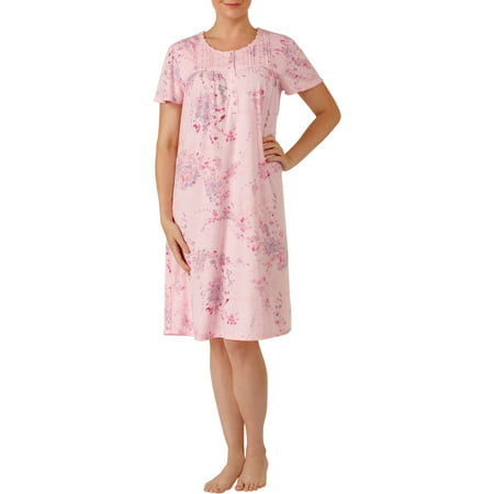 Neck Kit - Secret treasures women's short sleeve round neck fluid knit sleep gowns (size s-4x)