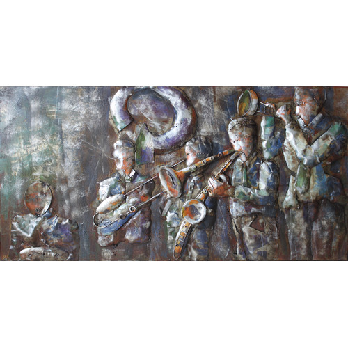 Empire Art Direct ''Jazz Band'' Mixed Media Iron Hand Painted Dimensional Wall D cor