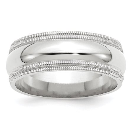 14kt White Gold 8mm Double Milgrain Comfort Fit Wedding Ring Band Size 12 Classic Fine Jewelry Ideal Gifts For Women Gift Set From (8mm 14k White Gold Band)
