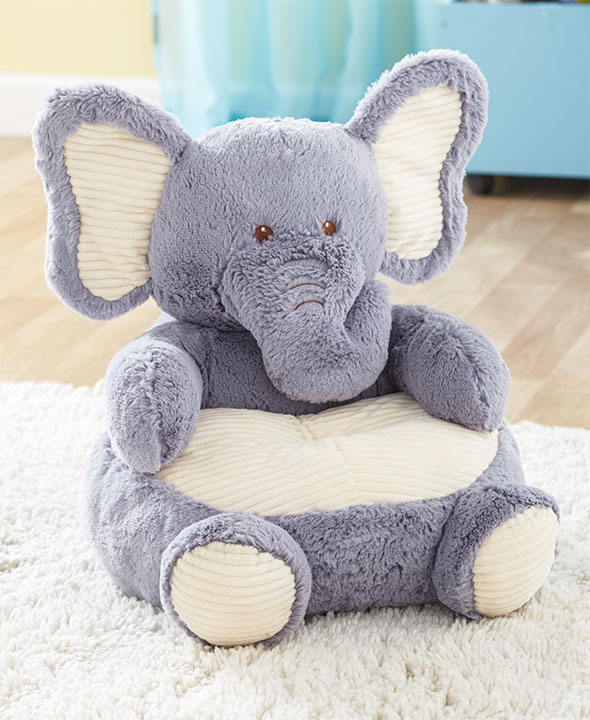 Kids Plush Chair Animal Shaped Ultra Soft Cuddly Furniture Gift Cozy  Toddler New (Elephant)