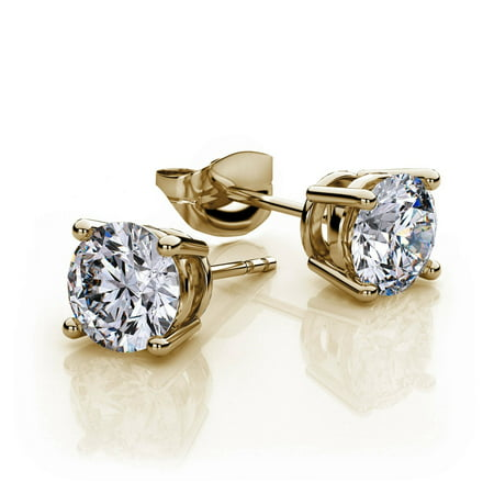 Genuine 1 Carat Natural Solitaire Round Cut Diamond 4 Prong Post Back Stud Earrings In 14K Yellow Gold