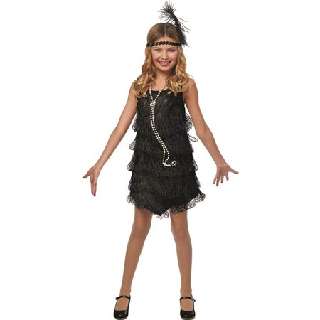 Flapper Girls Black 1920'S Black Fringed Dress Childs Halloween Costume