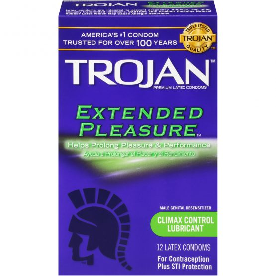 Trojan Extended Pleasures with Brass Pocket Case, Climax Control Ribbed Lubricated Latex Condoms -12 Count