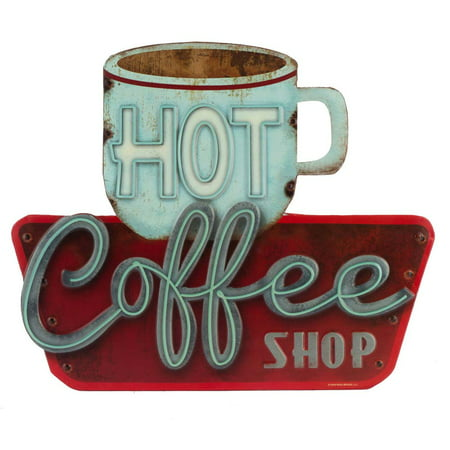 Hot Coffee Shop Embossed Metal Sign