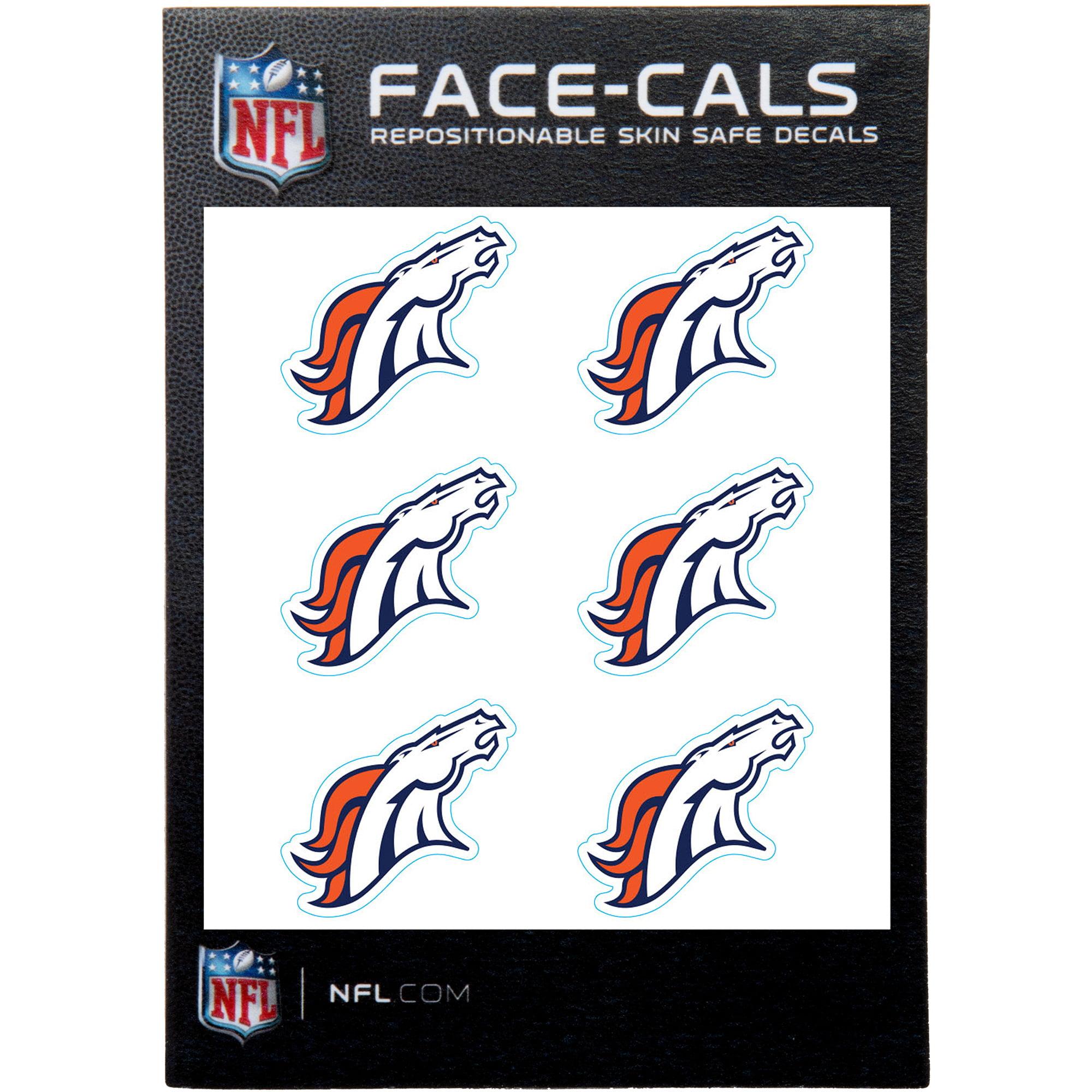 Denver Broncos 6-Pack Mini-Cals Face Decals - No Size