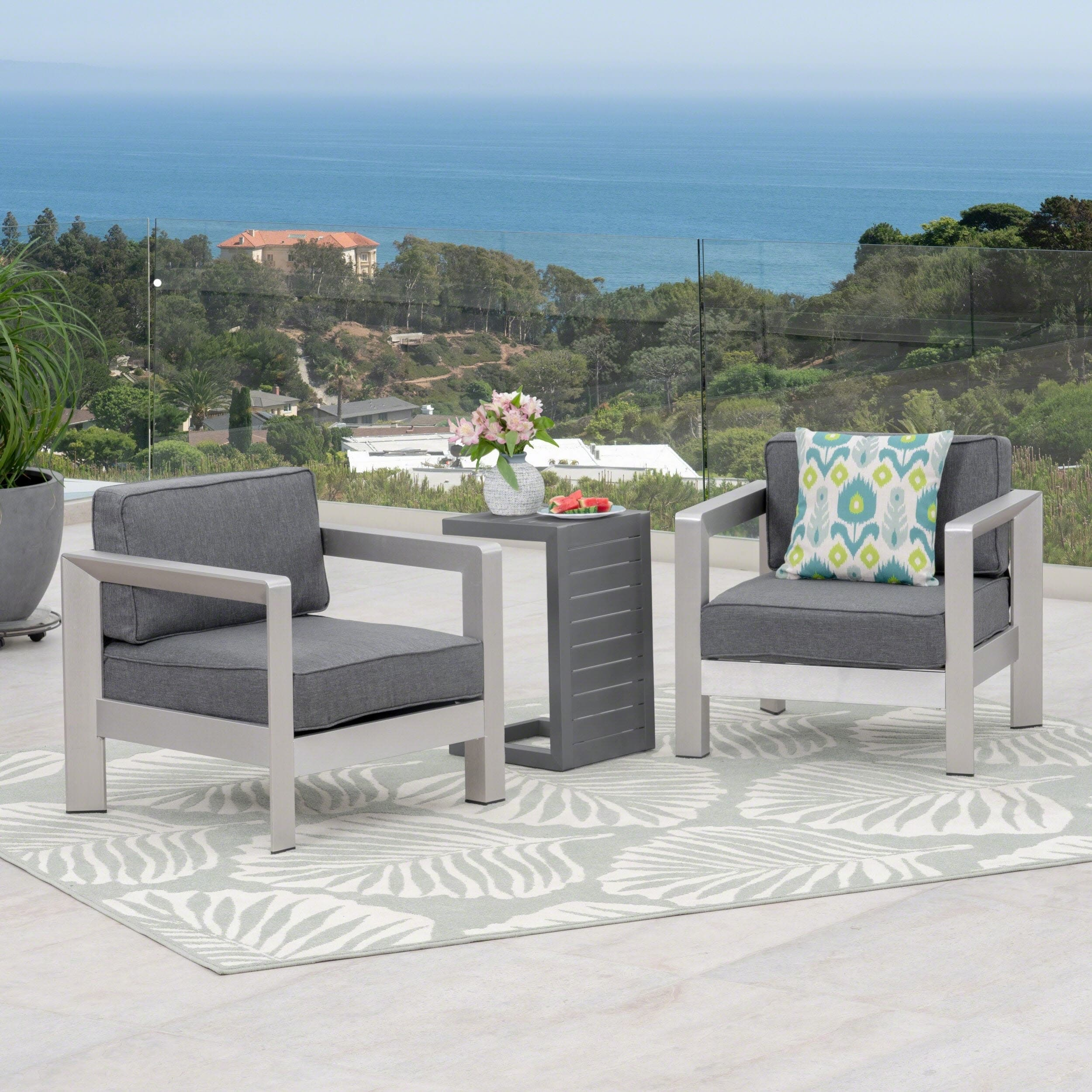 Christopher Knight Home Aviara Outdoor Aluminum Club Chairs with Side Table by