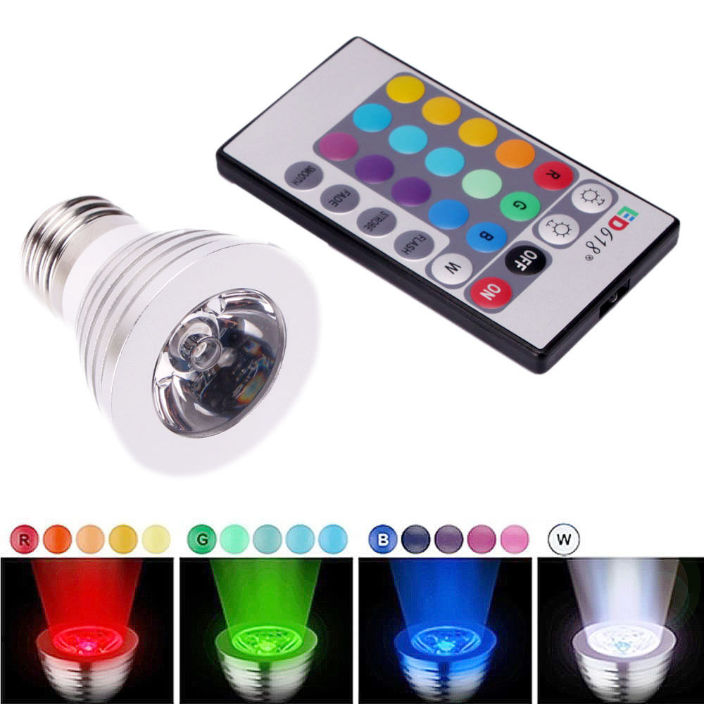 Ktaxon E27 LED Bulb light,3W RGB Color Changing Spotlight with IR Remote Control Mood Ambiance Lighting for Home Decoration, Bar, Party