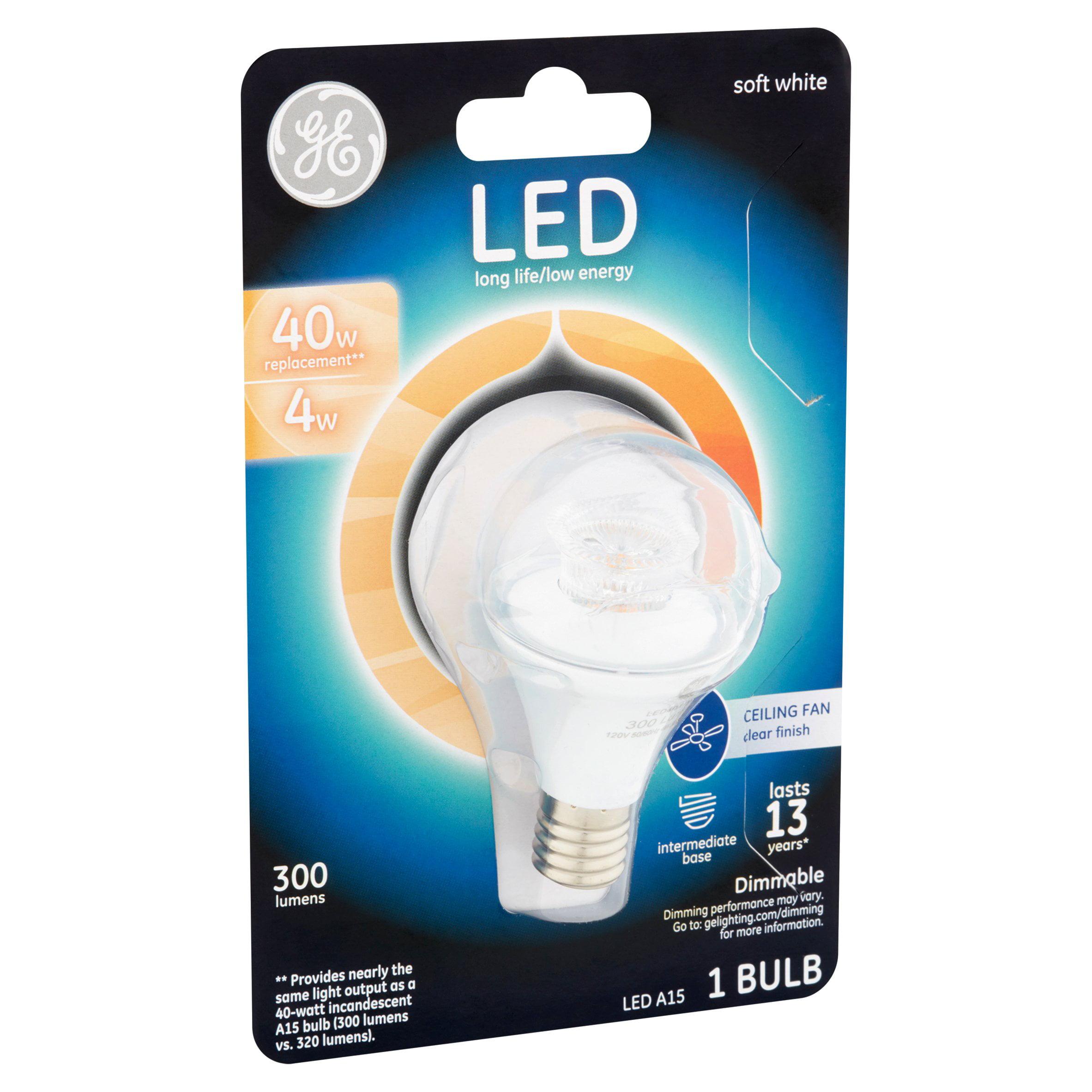 GE LED 4W 300 Lumens A15 Soft White Bulb Walmart
