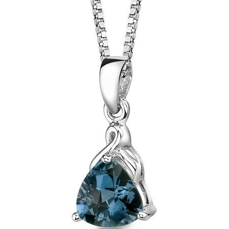 2.00 Ct Trillion Cut London Blue Topaz Rhodium-Plated Sterling Silver Pendant, (Topaz Trillion Pendant)