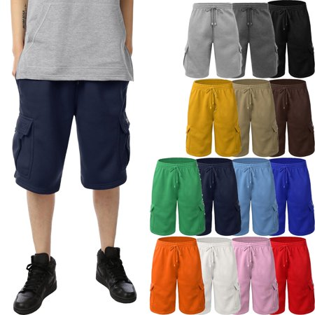 Men's Basic Casual Comfort Fleece Cargo Sweat Shorts with Drawstring