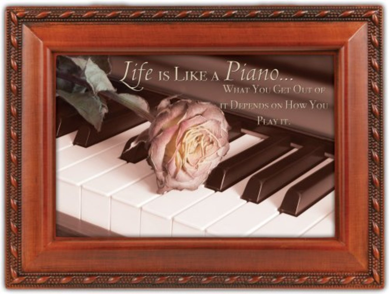 Cottage Garden Life Is Like A Piano Woodgrain Music Box Plays Unchained Melody by