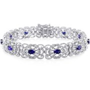 4-1/3 Carat T.G.W. Created Blue Sapphire and 1/5 Carat T.W. Diamond Sterling Silver Filigree Design Bracelet, 7