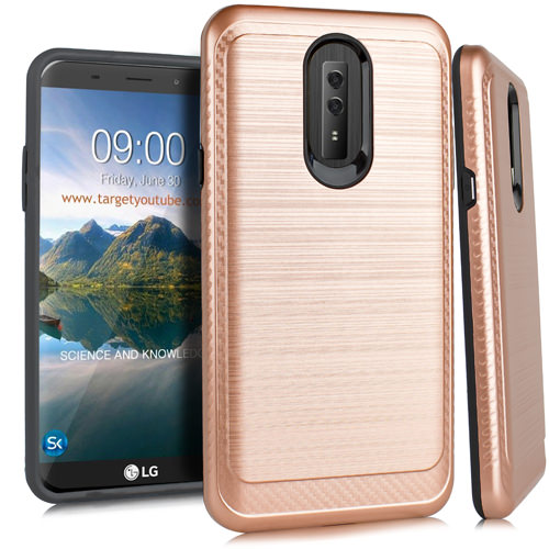 Mundaze LG Stylo 4 Silk Brushed Armor Anti-Shock Double Layered Phone Case, Rose Gold