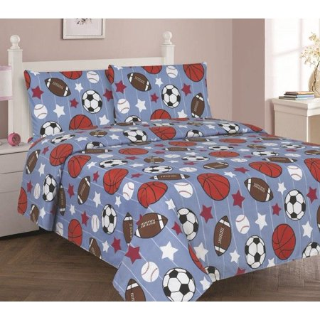 GAME DAY Full Size 4-Piece Kids Printed Microfiber Bedding Sheet Set 1 Flat Sheet, 1 Fitted Sheet, and 2 (As Zions Youth In Latter Days Sheet Music)