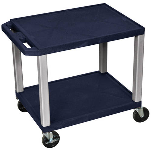 H. Wilson Tuffy 2-Shelf A/V Cart with Electric, Navy Shelves and Nickel Legs