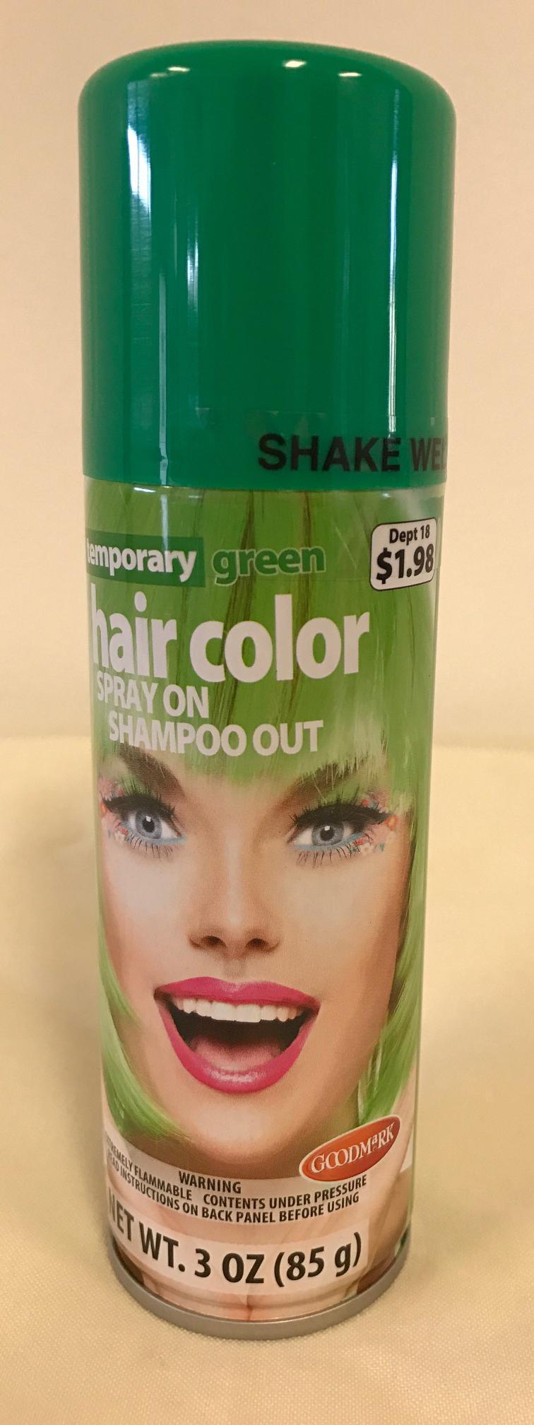Goodmark Halloween Temporary Hair Color Spray Green Walmart