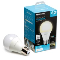 Merkury Innovations A19 Smart Light Bulb, 60W Dimmable White LED, 1-Pack