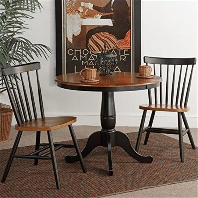 36 in. Round Pedestal Dining Table with 2 Copenhagen Chairs - 3 Pieces, Black & Cherry