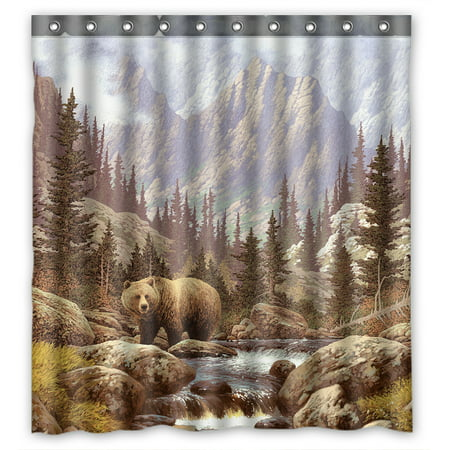 YKCG Home Decor Grizzly Bear in the Rocky Mountains Waterproof Fabric Bathroom Shower Curtain 66x72 inches