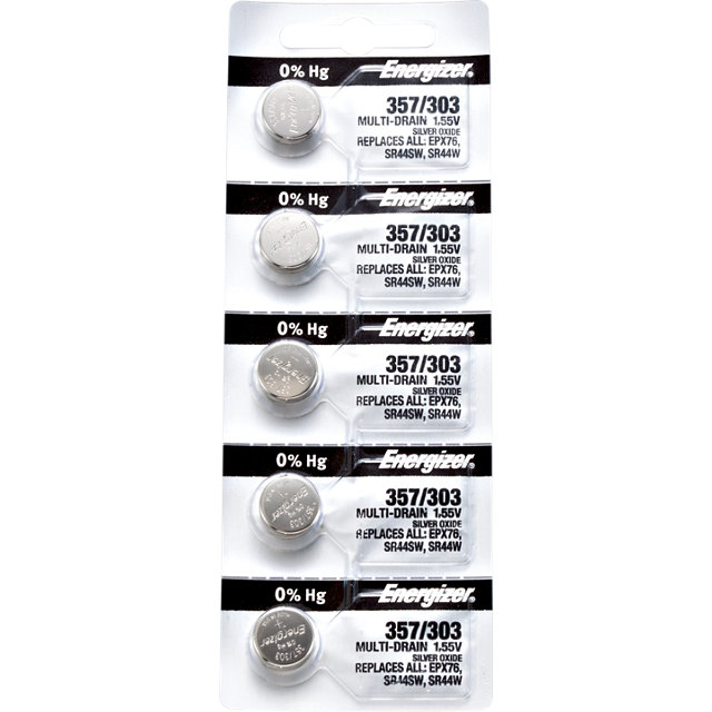 Energizer 357 303 Silver Oxide Multi-Drain Battery 1.55v Card of 5