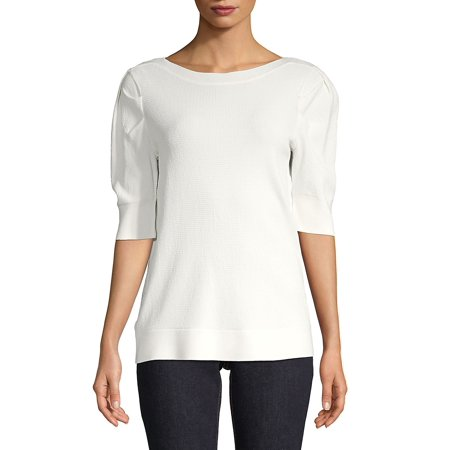 Calvin Klein Ribbed Cotton Top - Textured Puffed-Sleeve Top