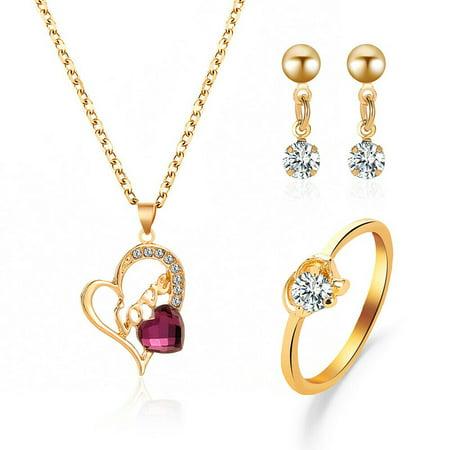 US Jewelry Set Rainbow Rhinestone Crystal Necklace, Bracelet, Earring, Ring Necklace Earring Ring