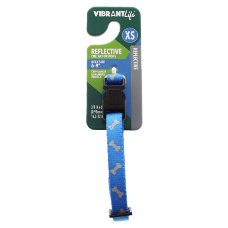 Vibrant Life Reflective Dog Collar, Blue Bones, X-Small - Scooby Doo Dog Collar
