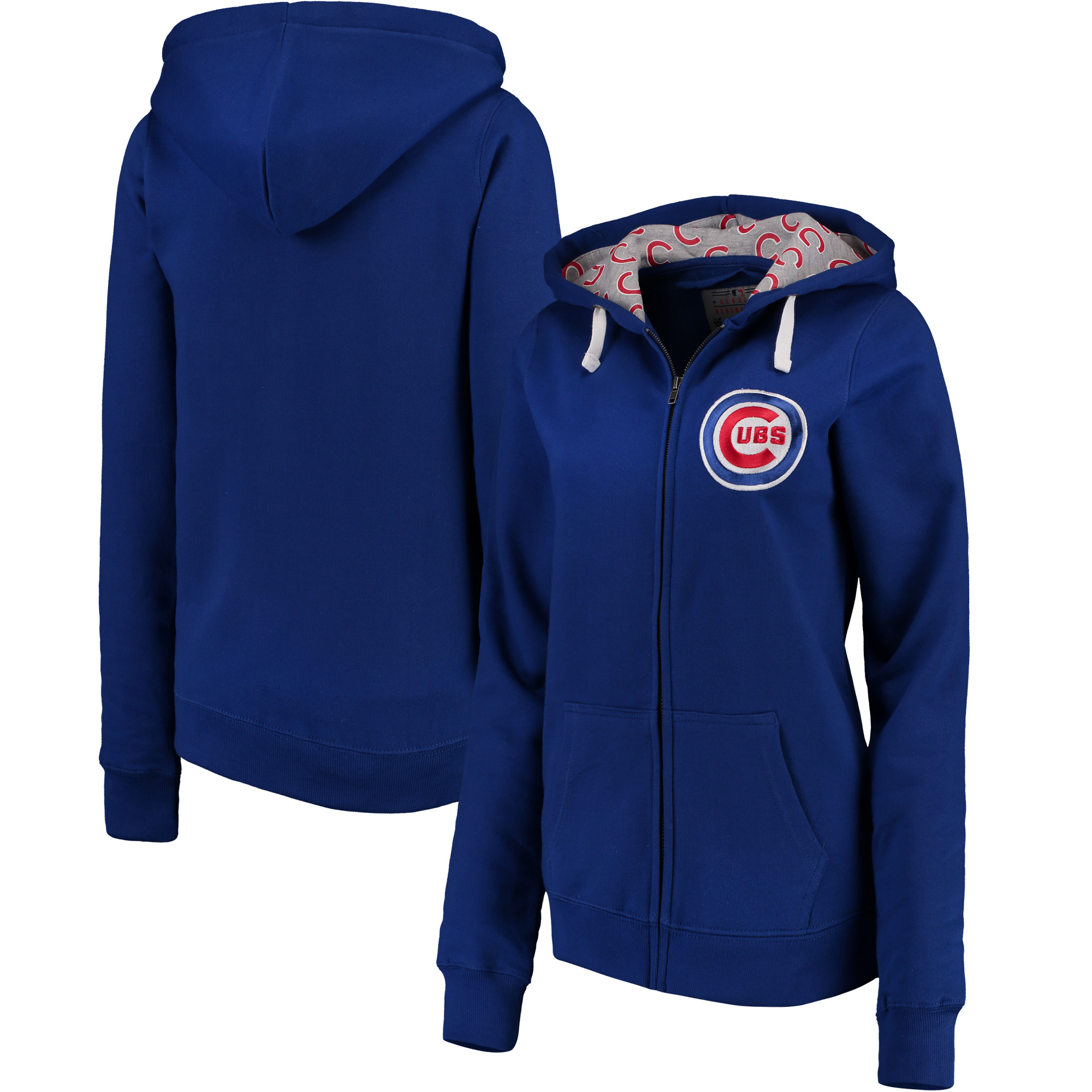 Chicago Cubs Soft as a Grape Women's Line Drive Full-Zip Hoodie - Royal