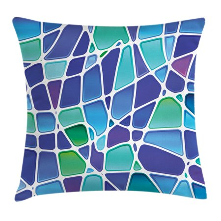 Abstract Forms (Fractal Throw Pillow Cushion Cover, Ceramic Mosaic Style Forms Trippy Abstract Vivid Figures Display, Decorative Square Accent Pillow Case, 16 X 16 Inches, Purple Jade Green Royal Blue, by)