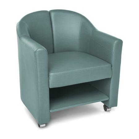 OFM Contour Series Model 880 Mobile Club Reception Waiting Room Chair, Anti-Microbial/Anti-Bacterial Vinyl, Aqua