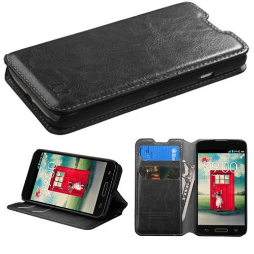 Insten Black Leather Wallet Protective Case w/ Tray For LG Optimus L70 Optimus Exceed 2 Dual D325