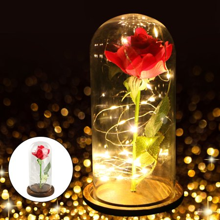Rose Glass Dome LED Light, Red Silk Rose and Led Light in Glass Dome on Wooden Base for Home Decor Holiday Party Wedding Anniversary