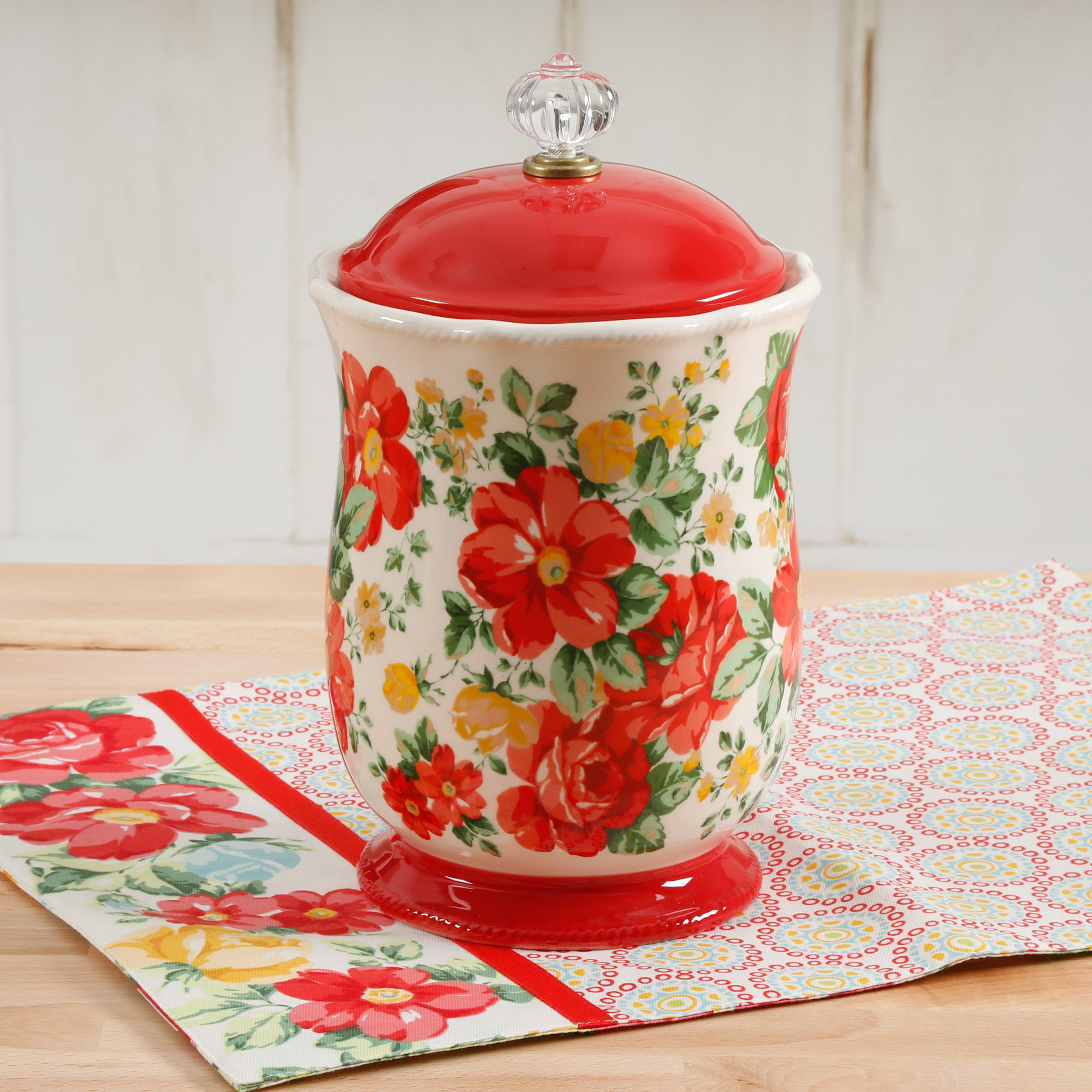 The Pioneer Woman Vintage Floral Canister With Acrylic Knob 10 Walmart Com Walmart Com