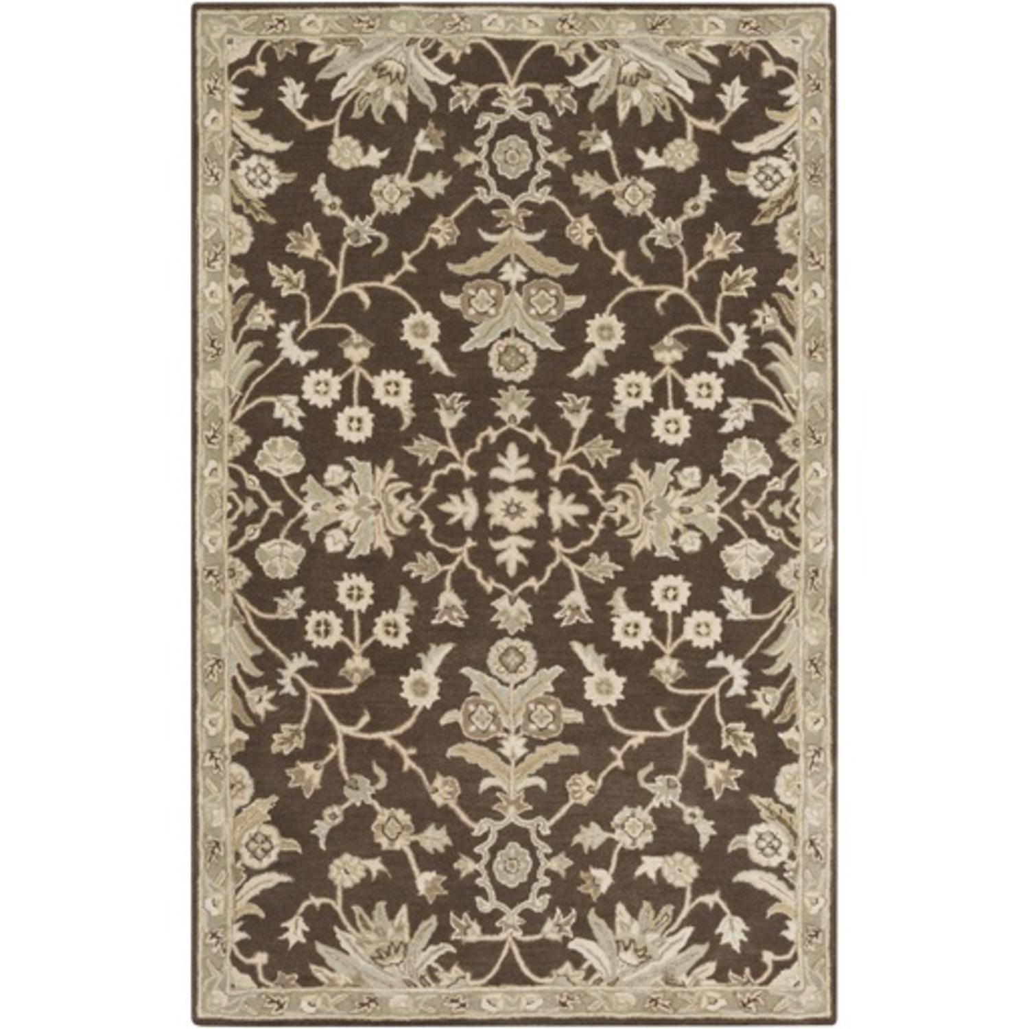 12' x 15' French Elegance Chocolate Brown, Gray and Cream Hand Tufted Wool  Area Throw Rug